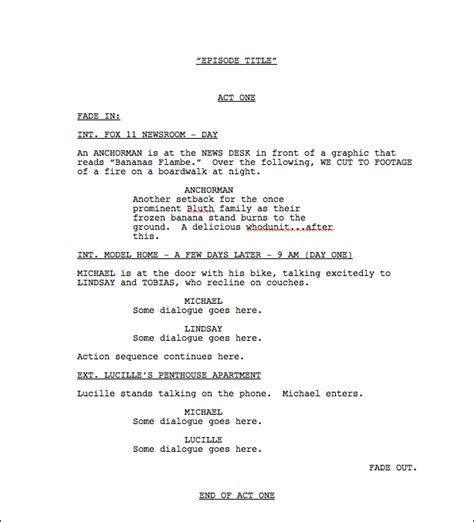 screenplay format template draft templates