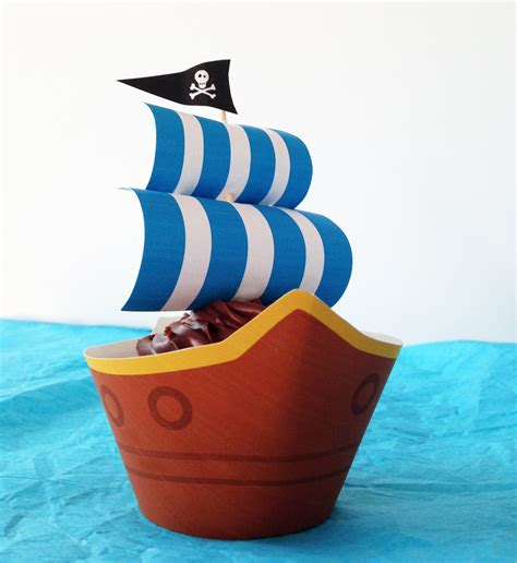 pirate ship party cupcakes   printables growing