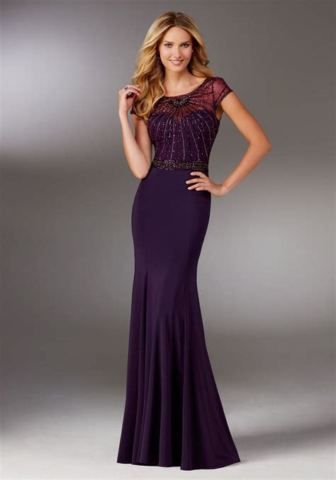 mgny  morilee  sheer beaded jersey mob gown french