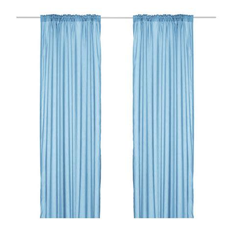 ikea torhild curtains drapes blue 2 panels semi sheer