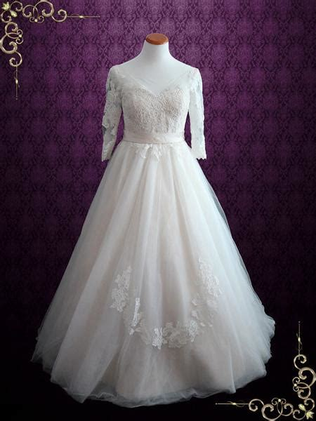 illusion lace princess ball gown wedding dress with