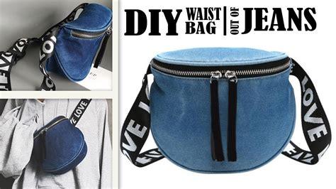 lovely diy jeans waist bag travel zipper belt bag