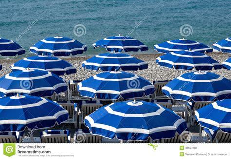 City Of Nice Beach With Umbrellas Stock Photo Image Of