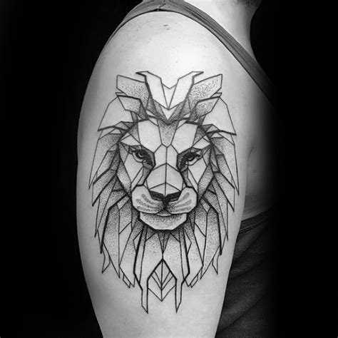 geometric lion tattoo designs  men masculine ideas