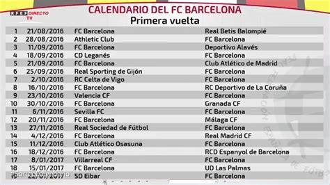 el calendario de laliga completo del fc barcelona