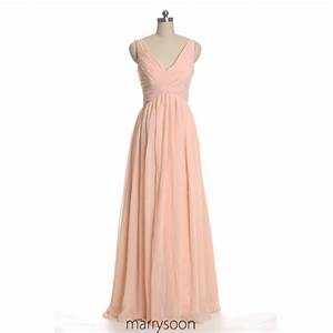 rose colored v neck chiffon bridesmaid dresses peach pink With rose colored wedding dress