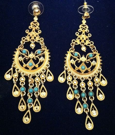 gold plated and turquoise chandelier earrings be158t