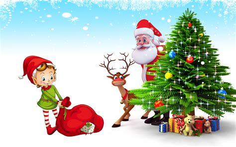 christmas postcard santa claus deer christmas tree