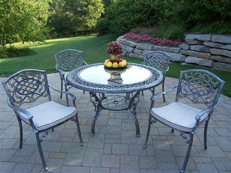 oakland living cast aluminum patio dining set w 48