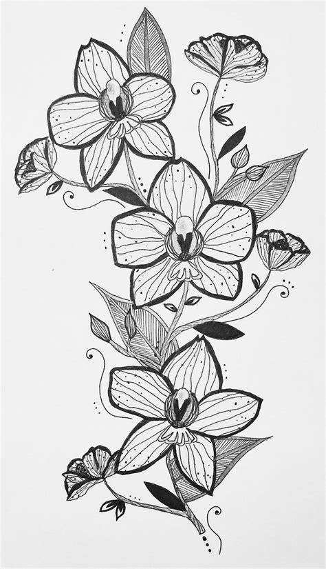 floral orchid tattoo design illustration feminine shoulder