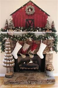 Christmas Country Fireplace Mantel