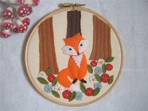 Embroidery hoop art, fox in the woods with flowers, felt