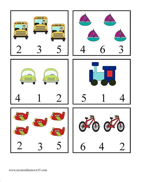 transportation activities for preschoolers on the move 312 | Clothespin Transportation Number Match