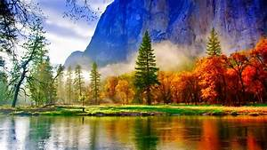 Landscape, Autumn, Colored, Trees, Lake, Mountagne, River, Green