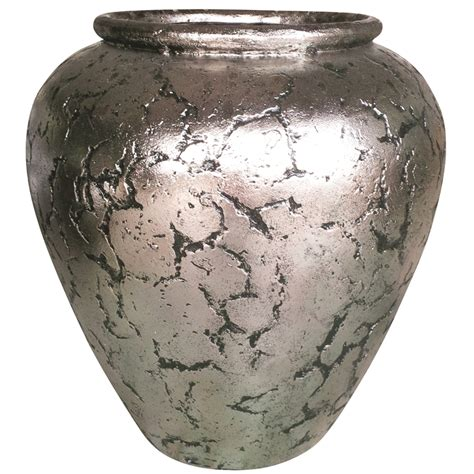 Silver Crackle Vase by Northcote Pottery Large Silver Crackle Helena Vase