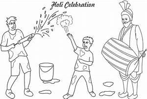 Holi celebrations coloring printable page for kids