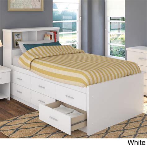 sonax 2 piece single twin captain 39 s storage bed set with