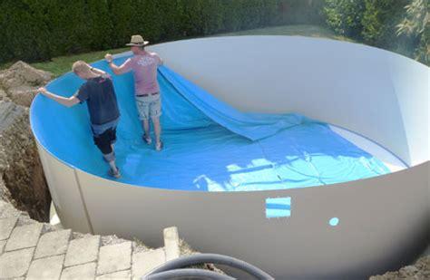 pool eingraben ohne beton pool einbauen ohne beton