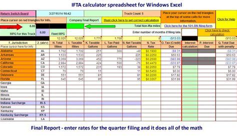 excel spreadsheet  ifta fuel tax final report