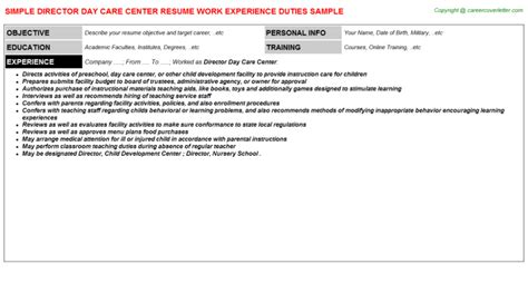 director day care center resume sle