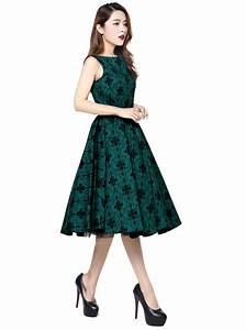Robe Retro Année 50 : robe ann es 50 rockabilly vintage chicstar audrey green brocart ~ Nature-et-papiers.com Idées de Décoration