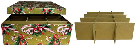 single layer candy cane christmas ornament storage box