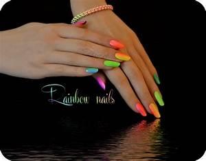 Rainbow manicure neon nails summer by Tartofraises on ...