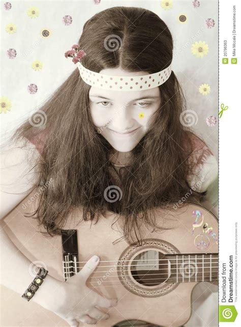 retro  teen girl guitar stock  image