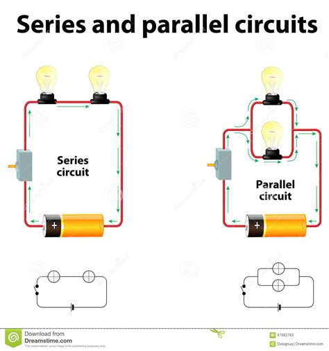 Series And Parallel Circuits Stock Vector  Illustration Of Battery, Relationship 67662763