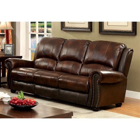Leather Sofa Upholstery by Furniture Of America Tad S Top Grain Leather Match Sofa