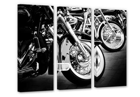 Motorcycle Wheels (3 Parts) Canvas Print