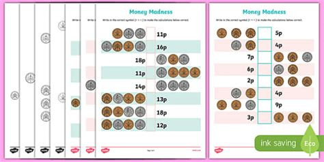 money madness greater than and less than activity sheet pack