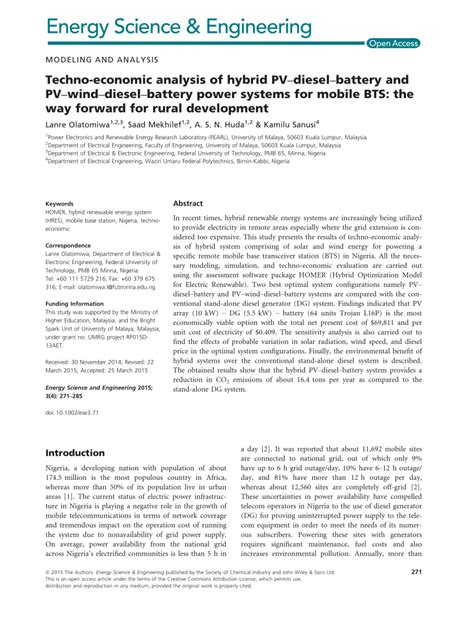 bureau for research and economic analysis of development techno economic analysis of hybrid pv diesel battery and