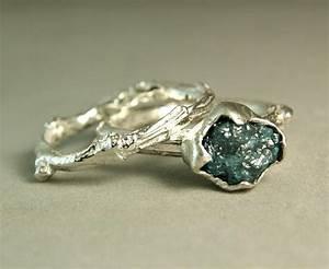 Natural Rough Blue Diamond Twig Ring, Hand Made Custom ...