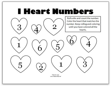 s math kindergarten worksheets mess for less 461 | Valentine's%2BDice