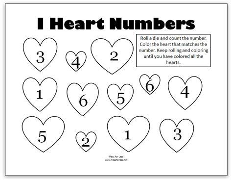 Valentine's Math  Kindergarten Worksheets  Mess For Less