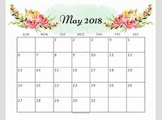 Cute May 2018 Calendar 6 Free Printable Monthly Planners