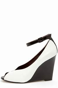 Cute White Wedges - Black and White Shoes - Ankle Strap ...