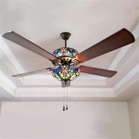 alston   indoor blue stained glass ceiling fan river
