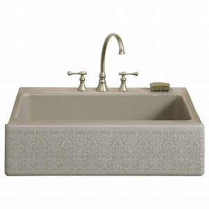 kohler dickinson undermount cast iron 33 in 4 hole single With 33x22 farmhouse sink