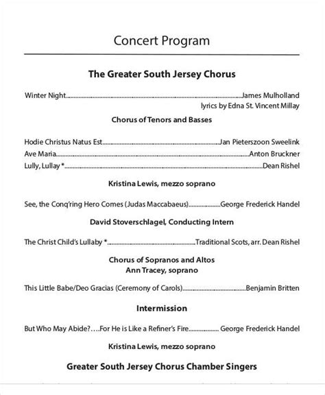concert program template 33 sle program templates sle templates