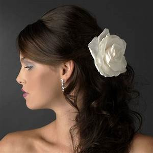 5quot Elegant Bridal Flower Hair Clip Ivory White Red