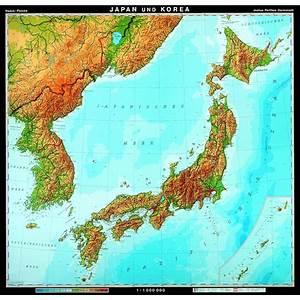 Japan And Korea Physical Map  83 U0026quot  X 77 U0026quot