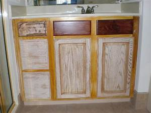 refinishing oak bathroom cabinets with white and dark With best brand of paint for kitchen cabinets with ceramics candle holders