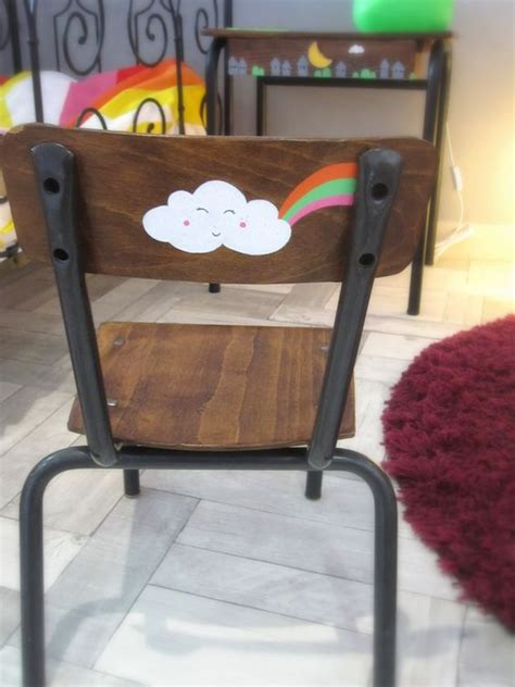 chaise écolier chaise enfant customisée 1 2 3 p 39 pois