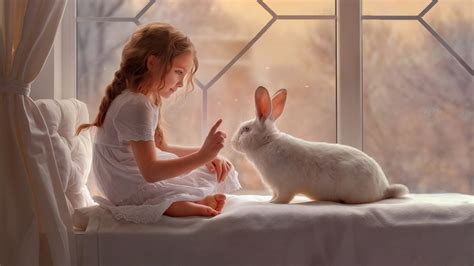 cute girl  rabbit wallpapers hd wallpapers id