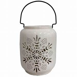 Martha Stewart Living 8 In  Candle Holder With White Snowflake Design-x321-gx007