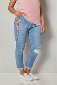 Bestickte jeans blumen