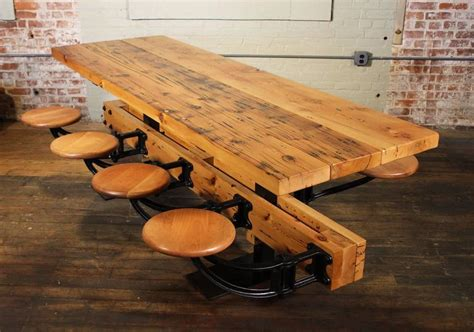 dining table  chairs reclaimed wood  cast iron