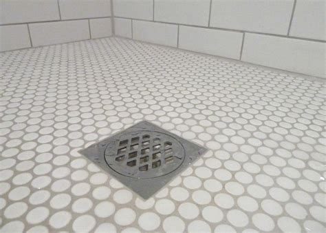 white grey floor tiles white penny rounds shower pan with white subway tiles bath pinterest mosaics shower pan